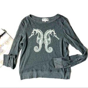 [Wildfox] Soft Seahorse Long Sleeve Tee